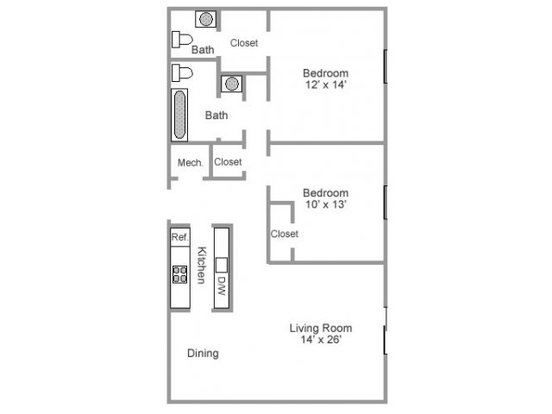 2 Bedrooms 1 Bathroom Apartment for rent at Hickory Creek in Nashville, TN