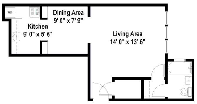 Studio 1 Bathroom Apartment for rent at Campus Court Apartments in Chicago, IL