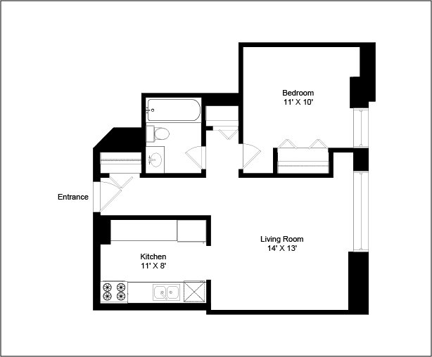1 Bedroom 1 Bathroom Apartment for rent at Madison Park Apartments in Chicago, IL