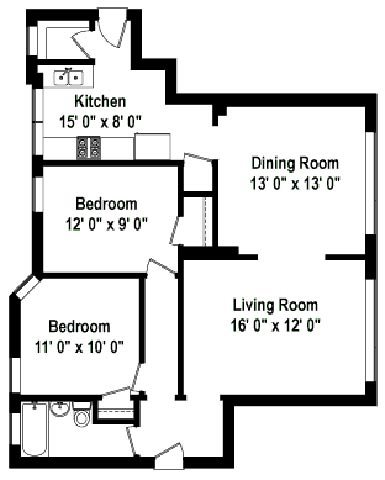 2 Bedrooms 1 Bathroom Apartment for rent at Shorewind Court Apartments in Chicago, IL