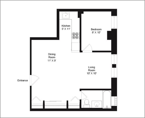 1 Bedroom 1 Bathroom Apartment for rent at The Flamingo Apartments in Chicago, IL