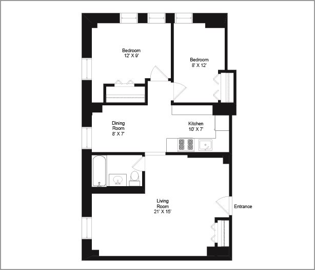 2 Bedrooms 1 Bathroom Apartment for rent at The Flamingo Apartments in Chicago, IL