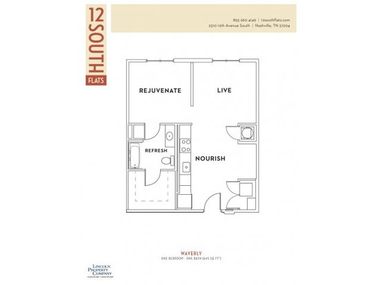 1 Bedroom 1 Bathroom Apartment for rent at 12 South Flats in Nashville, TN