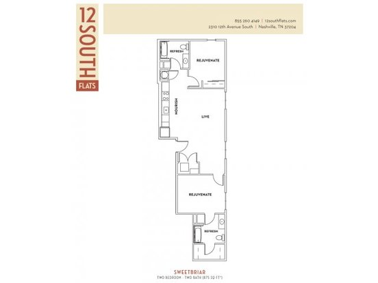 2 Bedrooms 2 Bathrooms Apartment for rent at 12 South Flats in Nashville, TN