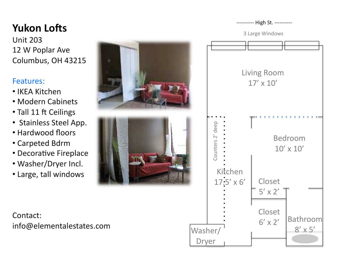 Studio 1 Bathroom Apartment for rent at 12 W Poplar Ave in Columbus, OH