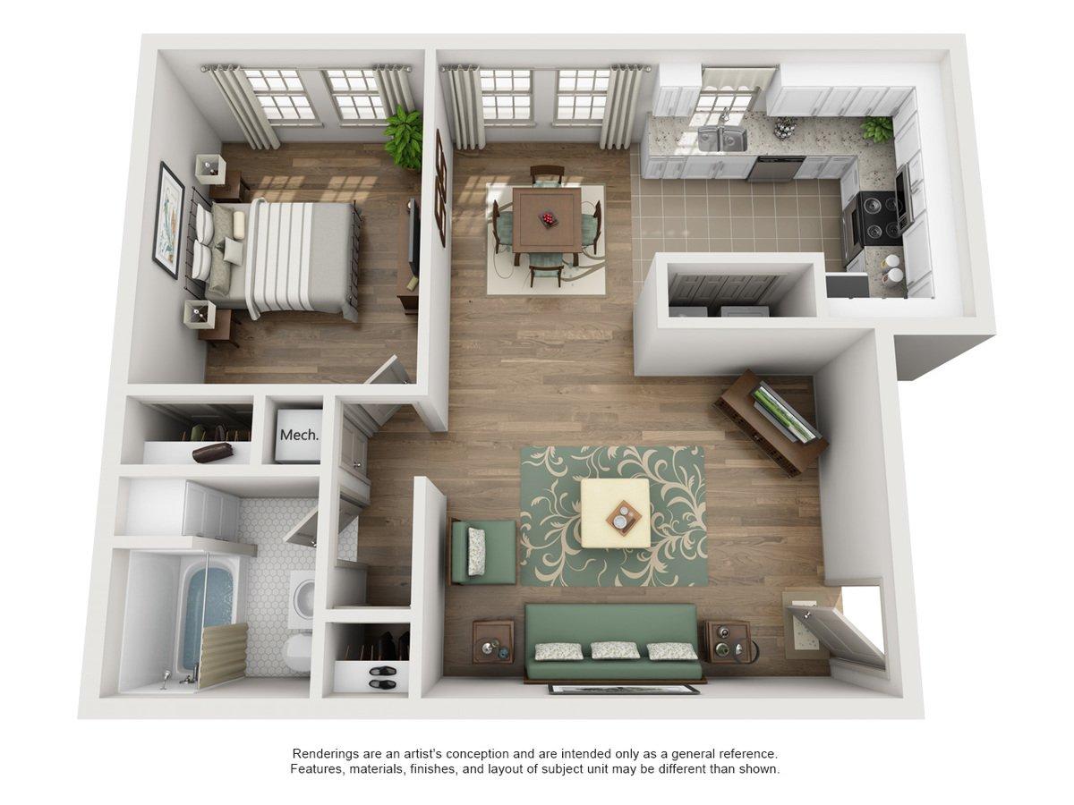1 Bedroom 1 Bathroom Apartment for rent at Sunset Ridge in San Antonio, TX