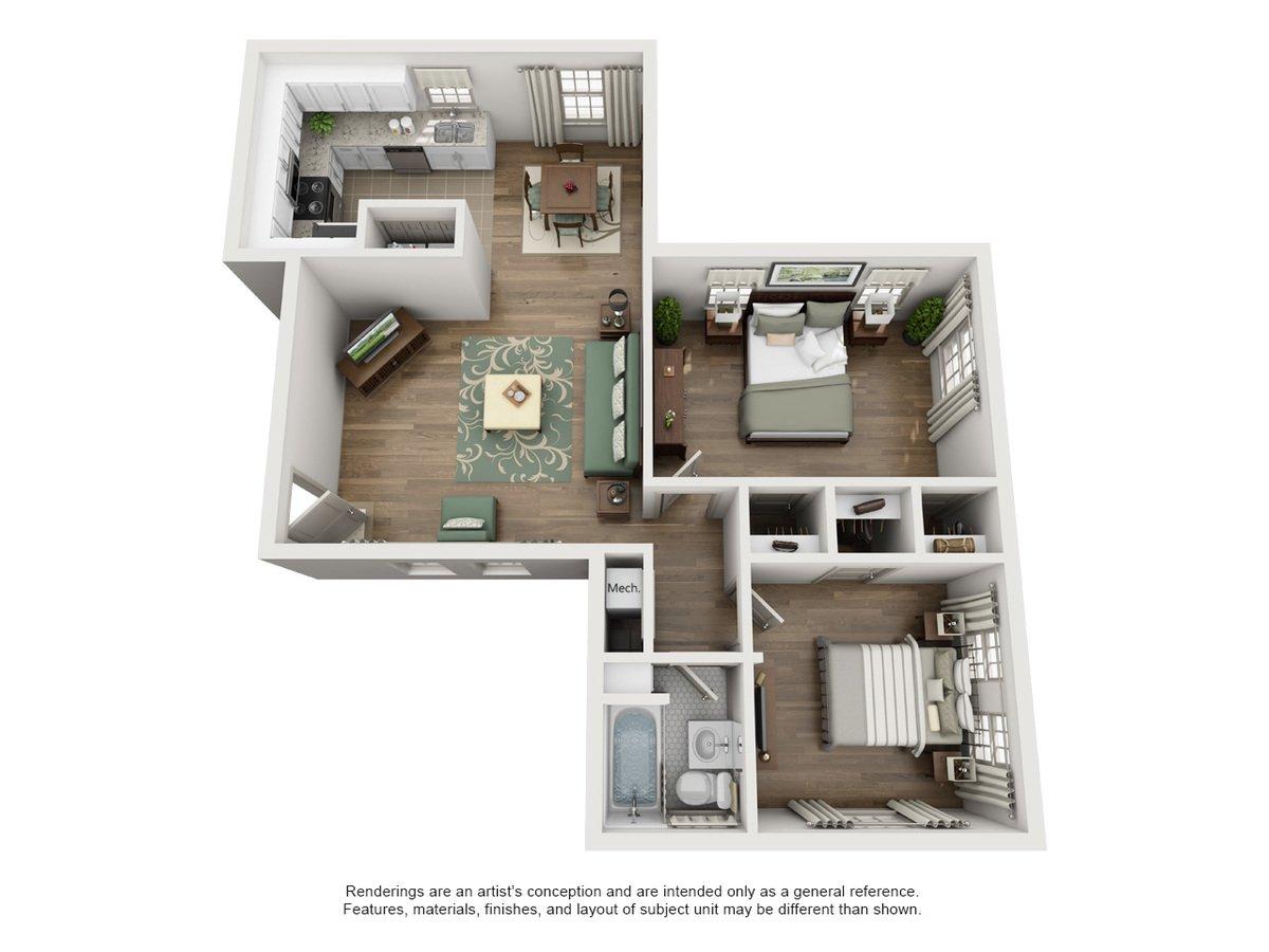 2 Bedrooms 1 Bathroom Apartment for rent at Sunset Ridge in San Antonio, TX
