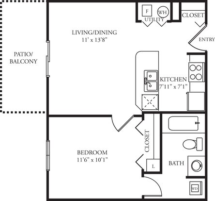 1 Bedroom 1 Bathroom Apartment for rent at Green Trails in Lisle, IL