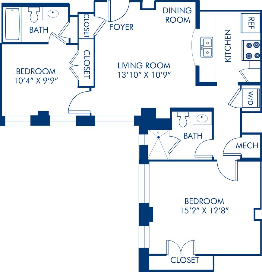 2 Bedrooms 2 Bathrooms Apartment for rent at Camden Roosevelt in Washington, DC