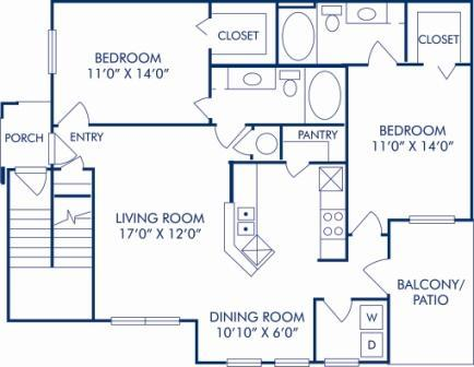 2 Bedrooms 2 Bathrooms Apartment for rent at Camden Huntingdon in Austin, TX