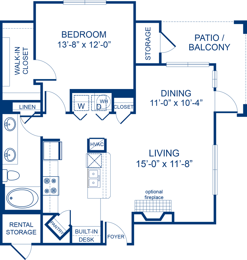 1 Bedroom 1 Bathroom Apartment for rent at Camden Asbury Village in Raleigh, NC