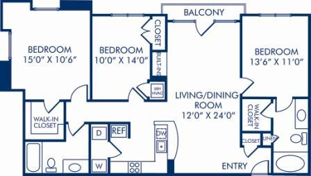 3 Bedrooms 2 Bathrooms Apartment for rent at Camden Fairfax Corner in Fairfax, VA