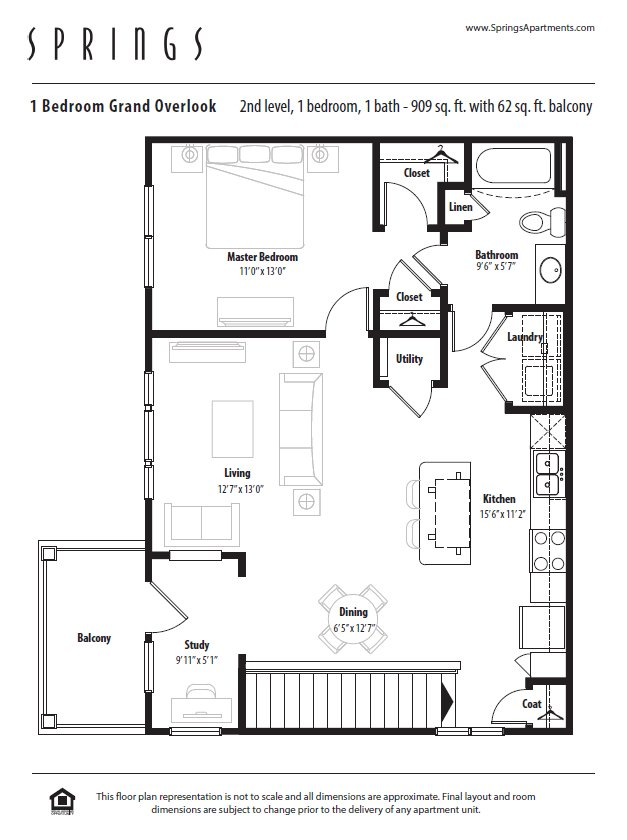 1 Bedroom 1 Bathroom Apartment for rent at Springs At Weber Road in Romeoville, IL