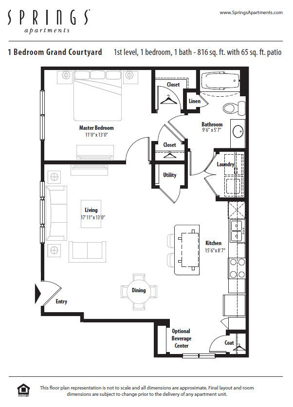 1 Bedroom 1 Bathroom Apartment for rent at Springs At South Broadway in Rochester, MN