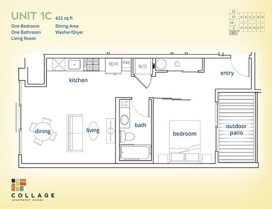 1 Bedroom 1 Bathroom Apartment for rent at Collage Apartment Homes in Seattle, WA