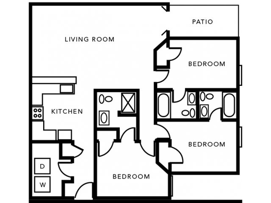 3 Bedrooms 3 Bathrooms Apartment for rent at Mccormick Place Apartments in West Lafayette, IN