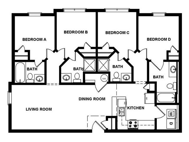4 Bedrooms 3 Bathrooms Apartment for rent at The Blue in Murfreesboro, TN