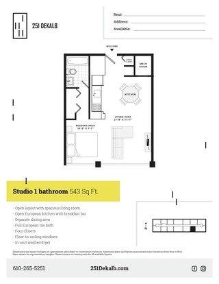 Studio 1 Bathroom Apartment for rent at 251 Dekalb in King Of Prussia, PA