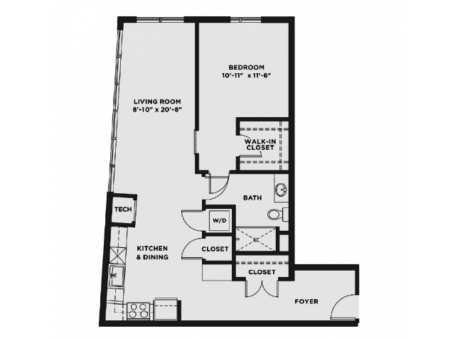 1 Bedroom 1 Bathroom Apartment for rent at The Scott At Brush Park in Detroit, MI