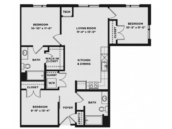 3 Bedrooms 2 Bathrooms Apartment for rent at The Scott At Brush Park in Detroit, MI
