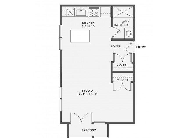 Studio 1 Bathroom Apartment for rent at The Coe At West Village in Detroit, MI