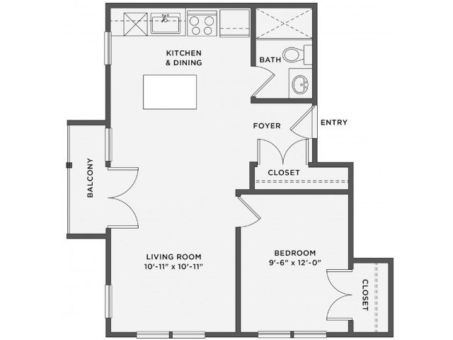 1 Bedroom 1 Bathroom Apartment for rent at The Coe At West Village in Detroit, MI