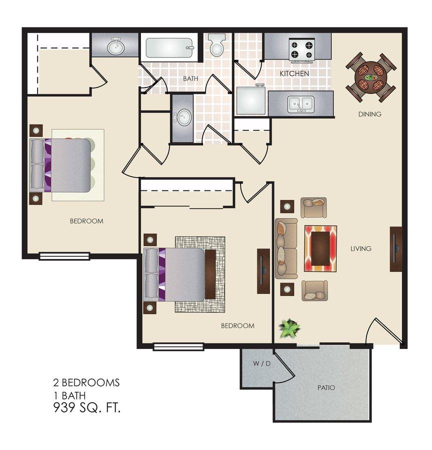 2 Bedrooms 1 Bathroom Apartment for rent at Tivona in San Antonio, TX