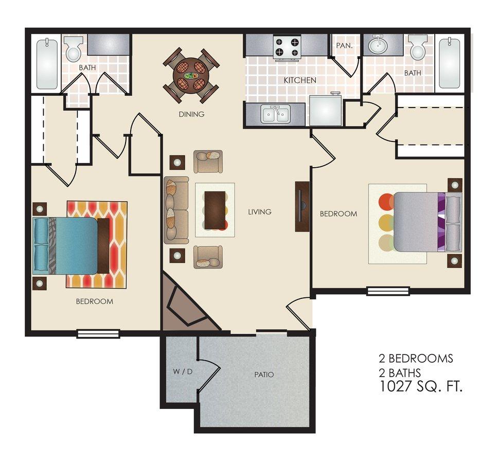 2 Bedrooms 2 Bathrooms Apartment for rent at Tivona in San Antonio, TX