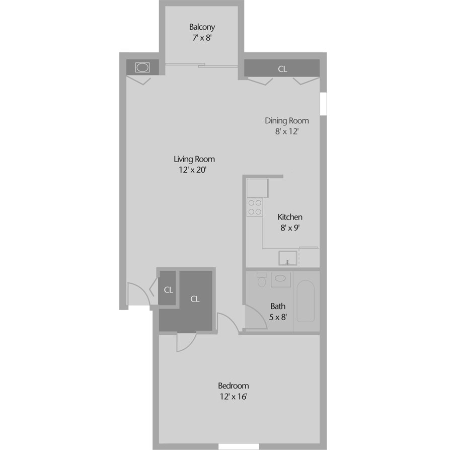 1 Bedroom 1 Bathroom Apartment for rent at Top Of The Hill Apartments in Wilmington, DE