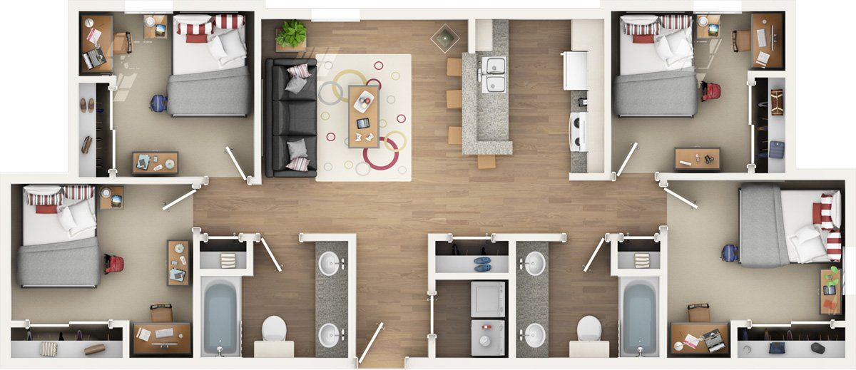 4 Bedrooms 2 Bathrooms Apartment for rent at The Nook in Gainesville, FL