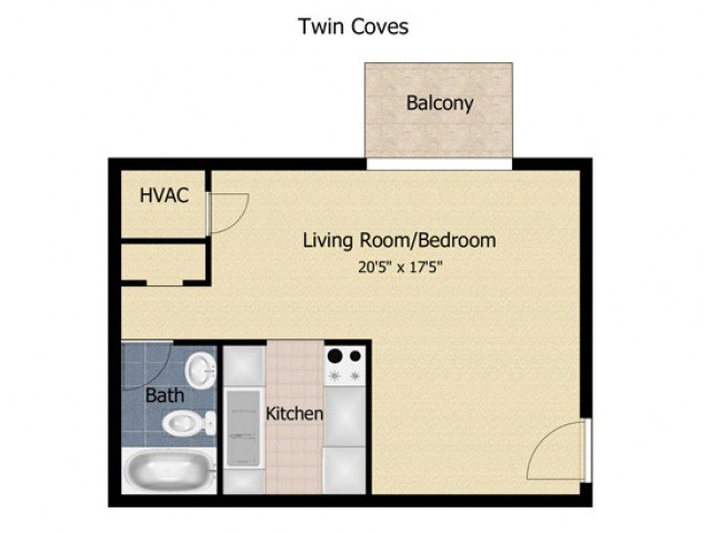 1 Bedroom 1 Bathroom Apartment for rent at Twin Coves Apartments in Glen Burnie, MD