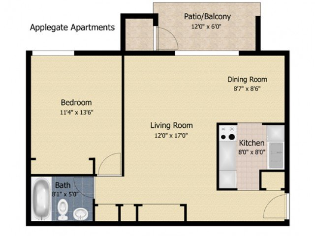 1 Bedroom 1 Bathroom Apartment for rent at Applegate & Potomac Commons Apartments & Townhomes in Frederick, MD