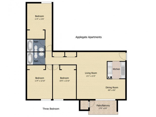 3 Bedrooms 2 Bathrooms Apartment for rent at Applegate & Potomac Commons Apartments & Townhomes in Frederick, MD