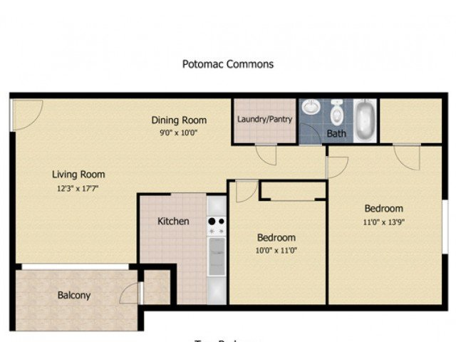 2 Bedrooms 1 Bathroom Apartment for rent at Applegate & Potomac Commons Apartments & Townhomes in Frederick, MD
