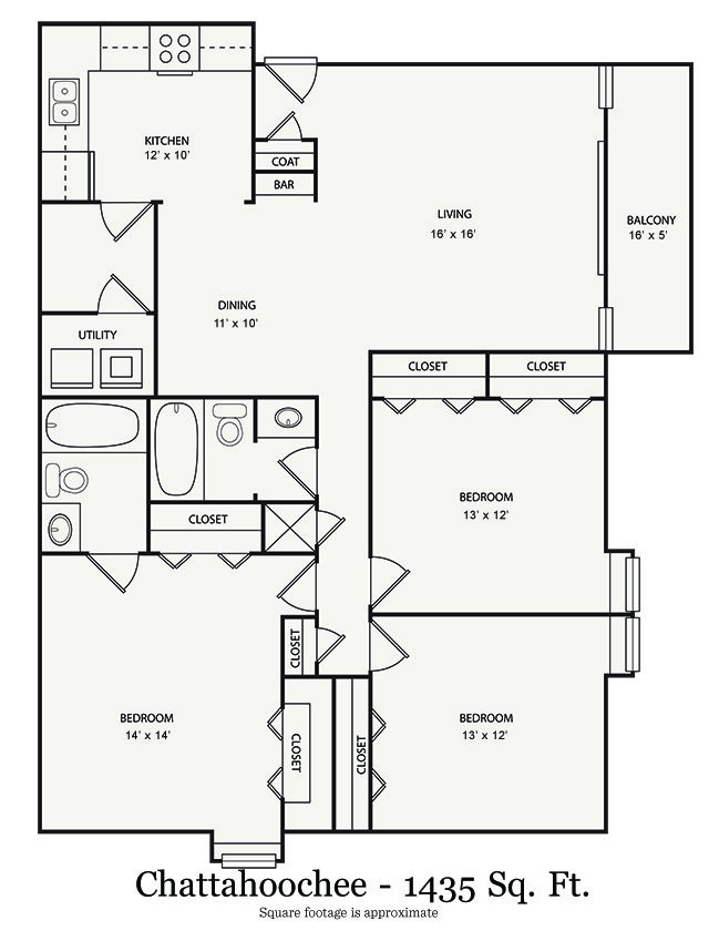 3 Bedrooms 2 Bathrooms Apartment for rent at Walton River in Atlanta, GA