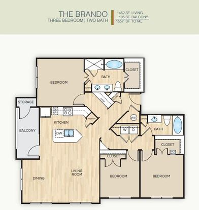 3 Bedrooms 2 Bathrooms Apartment for rent at The Mark Huebner Oaks in San Antonio, TX