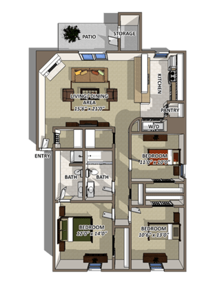 3 Bedrooms 2 Bathrooms Apartment for rent at The Reserve At Barry in Kansas City, MO
