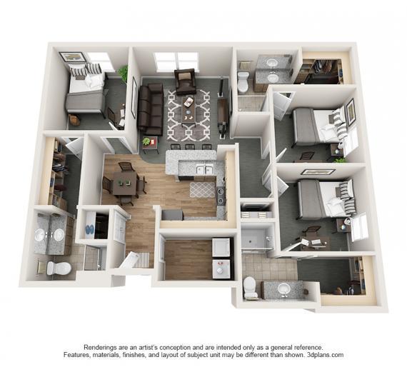 3 Bedrooms 3 Bathrooms Apartment for rent at Village Promenade in Muncie, IN