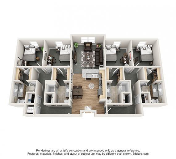 4 Bedrooms 4+ Bathrooms Apartment for rent at Village Promenade in Muncie, IN