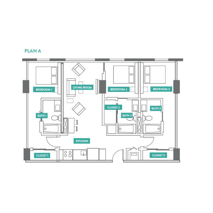 3 Bedrooms 3 Bathrooms Apartment for rent at Evo Philly At Cira Centre South in Philadelphia, PA