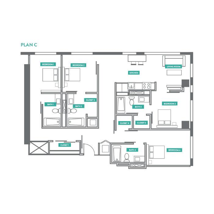 4 Bedrooms 4+ Bathrooms Apartment for rent at Evo Philly At Cira Centre South in Philadelphia, PA