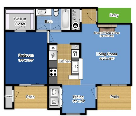 1 Bedroom 1 Bathroom Apartment for rent at The Greens At Alvamar in Lawrence, KS