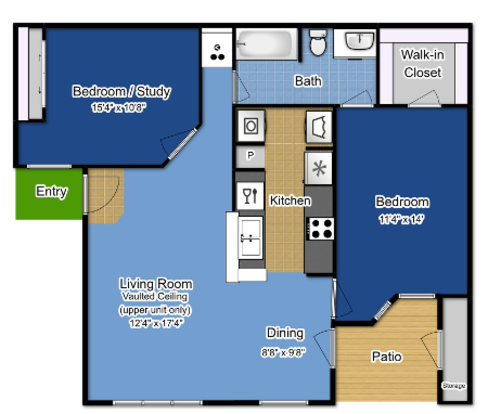 2 Bedrooms 1 Bathroom Apartment for rent at The Greens At Alvamar in Lawrence, KS