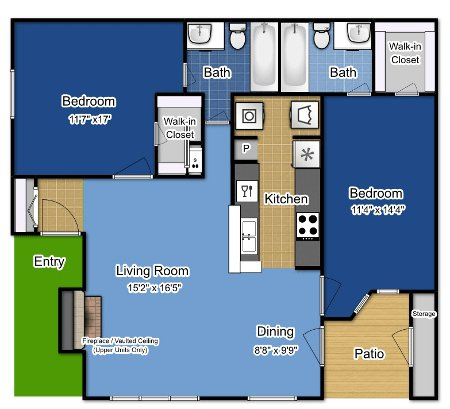 2 Bedrooms 2 Bathrooms Apartment for rent at The Greens At Alvamar in Lawrence, KS