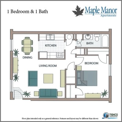 1 Bedroom 1 Bathroom Apartment for rent at Maple Manor in Fayetteville, AR