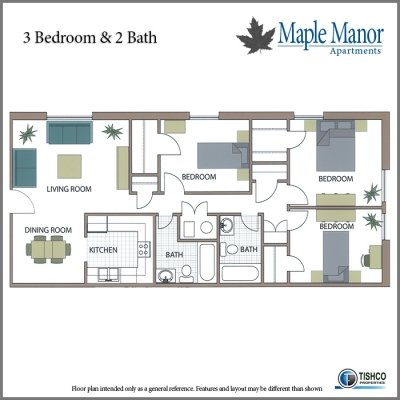 3 Bedrooms 2 Bathrooms Apartment for rent at Maple Manor in Fayetteville, AR