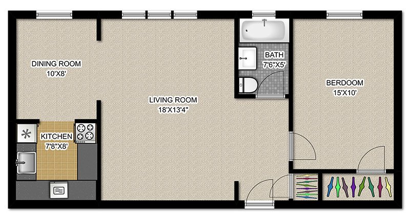 1 Bedroom 1 Bathroom Apartment for rent at 2756 N Pine Grove in Chicago, IL
