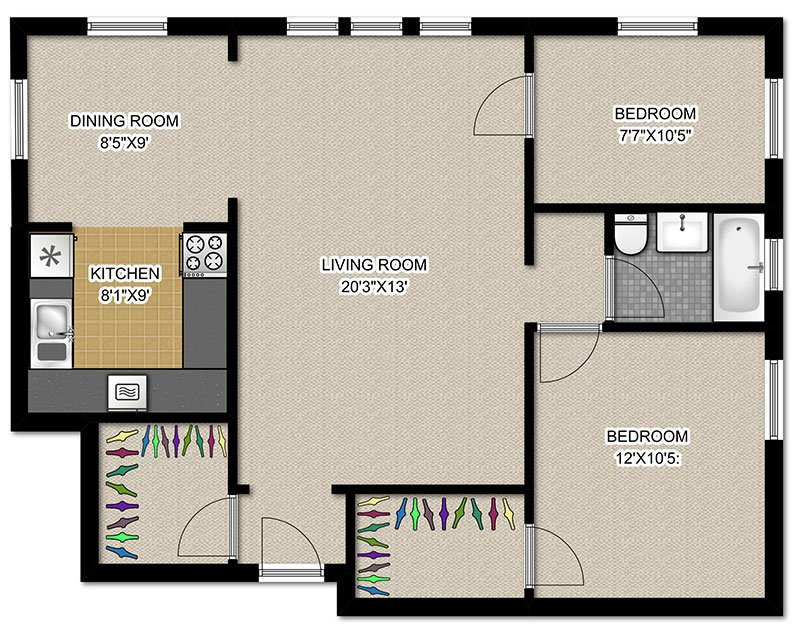2 Bedrooms 1 Bathroom Apartment for rent at 2756 N Pine Grove in Chicago, IL