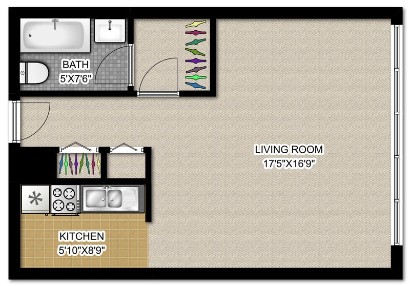 Studio 1 Bathroom Apartment for rent at 3130 N. Lake Shore Dr in Chicago, IL