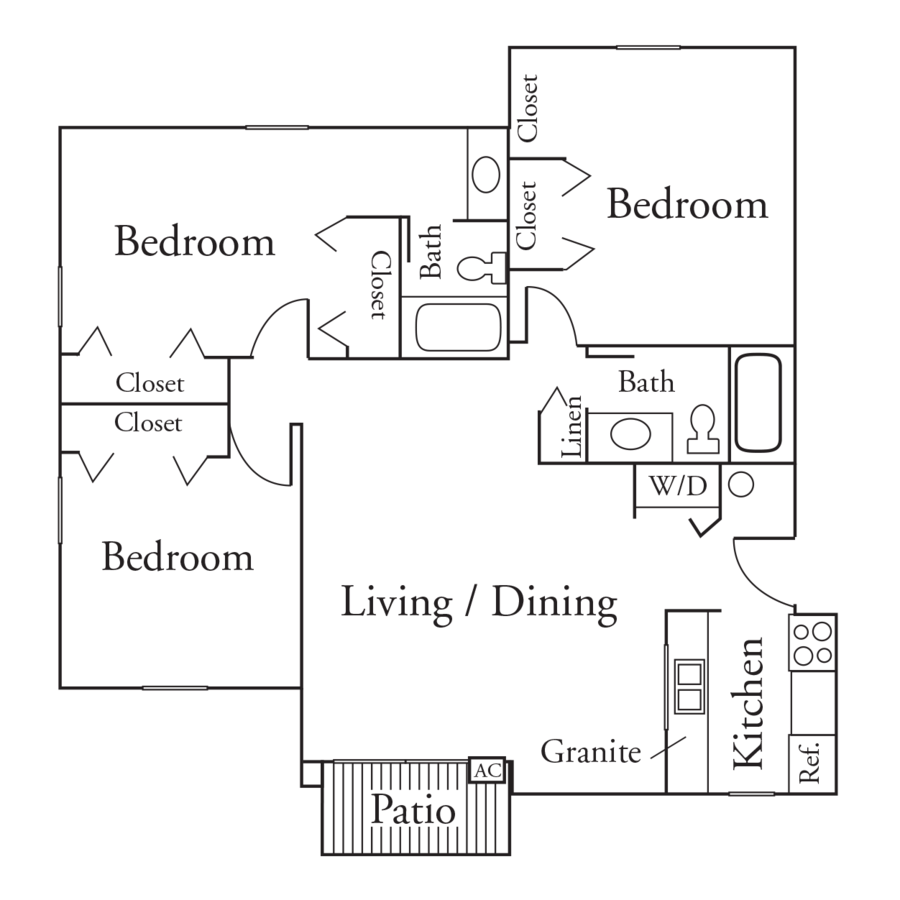 3 Bedrooms 2 Bathrooms Apartment for rent at High Point Woods in Madison, WI